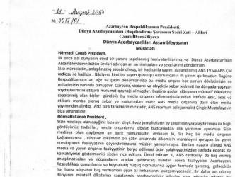 Dünya Azərbaycanlıları Assambleyası Prezidentə müraciət etdi